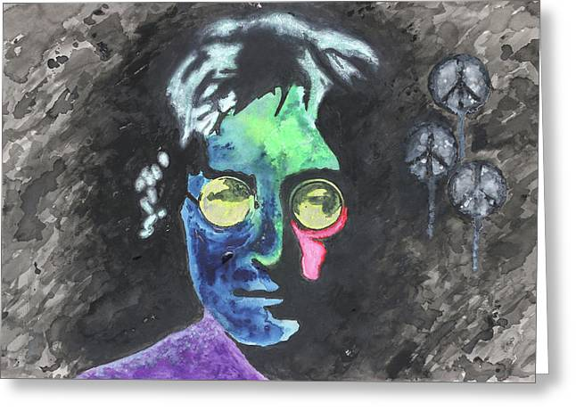 Johm Lennon's Peace Balloons Greeting Card by Ian Cameron
