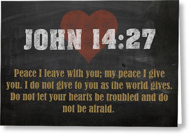 John 14 27 Inspirational Quote Bible Verses On Chalkboard Art Greeting Card