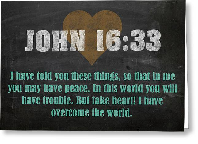 John 16 33 Inspirational Quote Bible Verses On Chalkboard Art Greeting Card