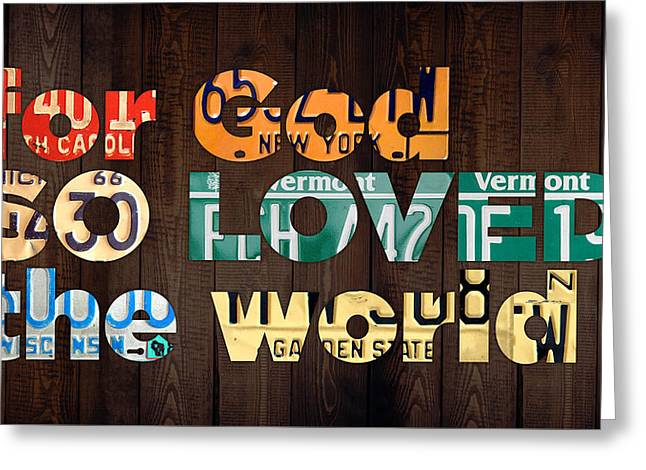 John 3 16 For God So Loved The World Bible Verse Recycled Vintage License Plate Art Greeting Card by Design Turnpike