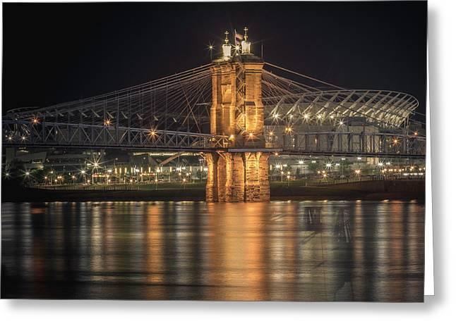 John A. Roebling Suspension Bridge Greeting Card by Scott Meyer