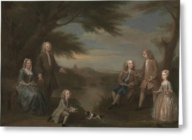 John And Elizabeth Jeffreys And Their Children Greeting Card by William Hogarth