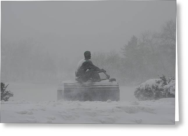 John B Kelly - Rowing In The Snow Greeting Card by Bill Cannon