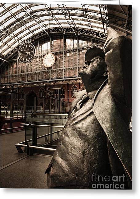 John Betjeman And Dent Clockat St Pancras Railway Station Greeting Card by Peter Noyce