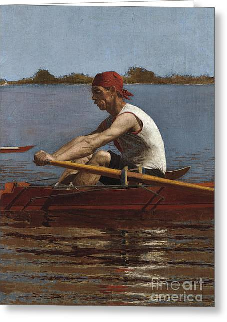John Biglin In A Single Scull, 1874  Greeting Card