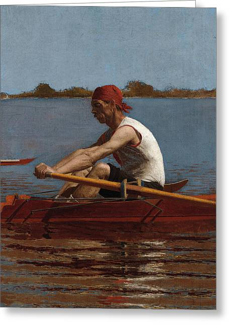 John Biglin In A Single Scull Greeting Card by Thomas Eakins