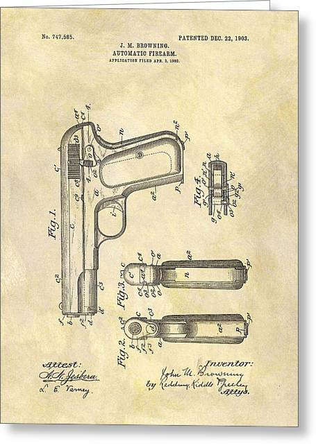 John Browning Automatic Pistol Patent Greeting Card