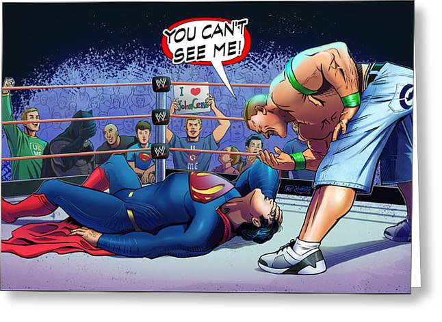 John Cena Vs Superman Greeting Card by Khaled Alsabouni