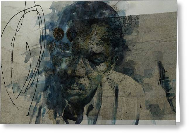 Greeting Card featuring the mixed media John Coltrane / Retro by Paul Lovering