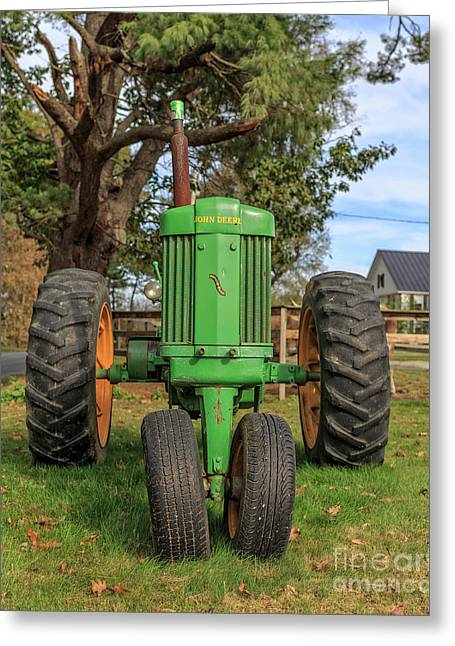 John Deere 50 Vintage Tractor Plainfield New Hampshire Greeting Card