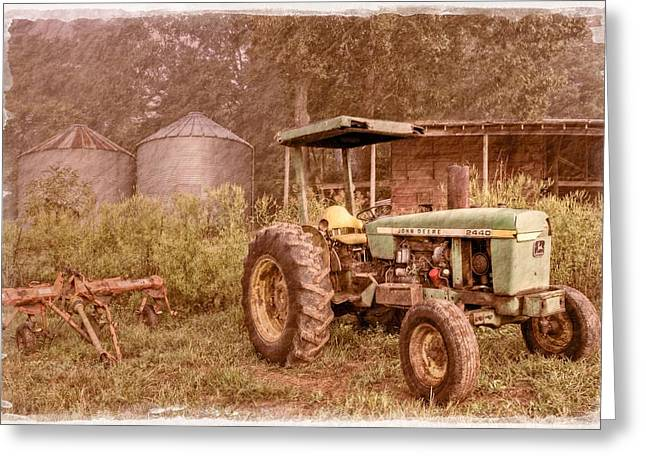 John Deere Antique Greeting Card by Debra and Dave Vanderlaan