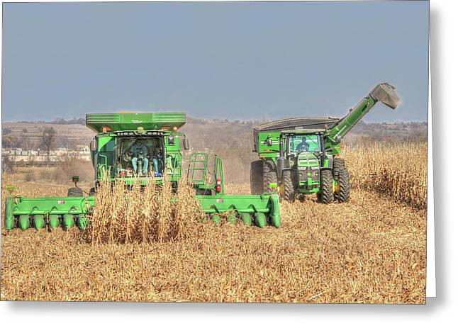 John Deere Combine Picking Corn Followed By Tractor And Grain Cart Greeting Card