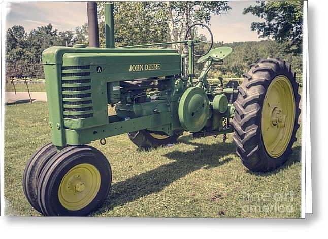 John Deere Green Tractor Vintage Style Greeting Card by Edward Fielding