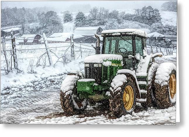 John Deere On A Snowy Day Ink Drawing Greeting Card