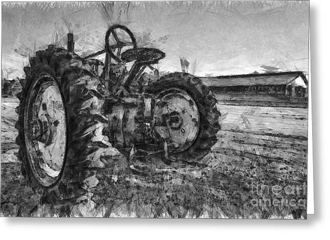 John Deere Pencil Drawing Greeting Card by Edward Fielding
