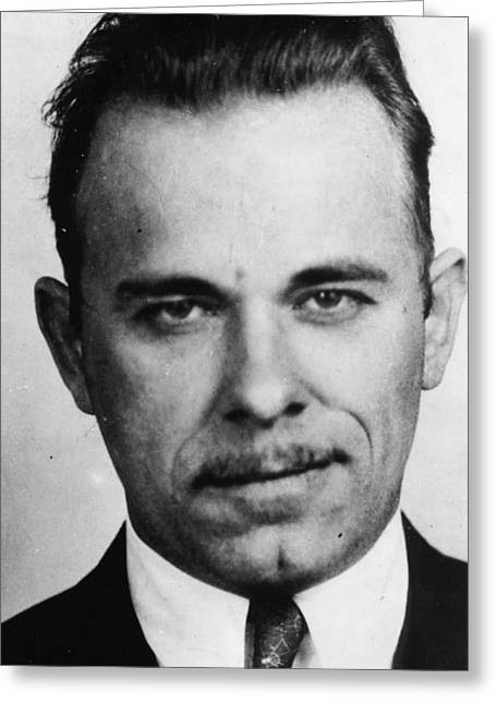 John Dillinger Mug Shot Black And White Greeting Card by Tony Rubino