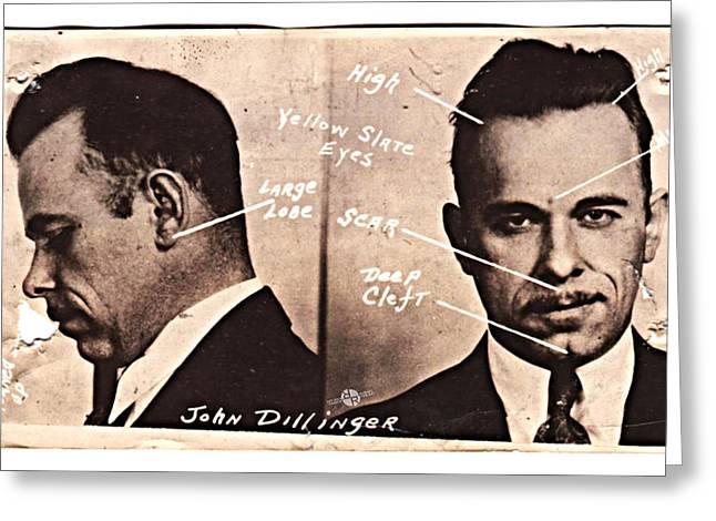 John Dillinger Mug Shot Identifying Features Greeting Card by Tony Rubino