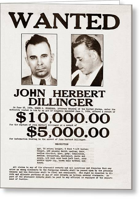 John Dillinger Wanted Poster Greeting Card by War Is Hell Store