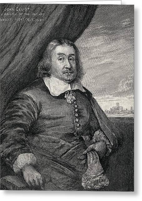 Roxbury Greeting Cards - John Eliot C.1604   1690 Aka Apostle Of Greeting Card by Ken Welsh