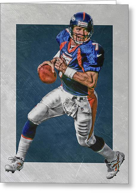 John Elway Denver Broncos Art Greeting Card by Joe Hamilton
