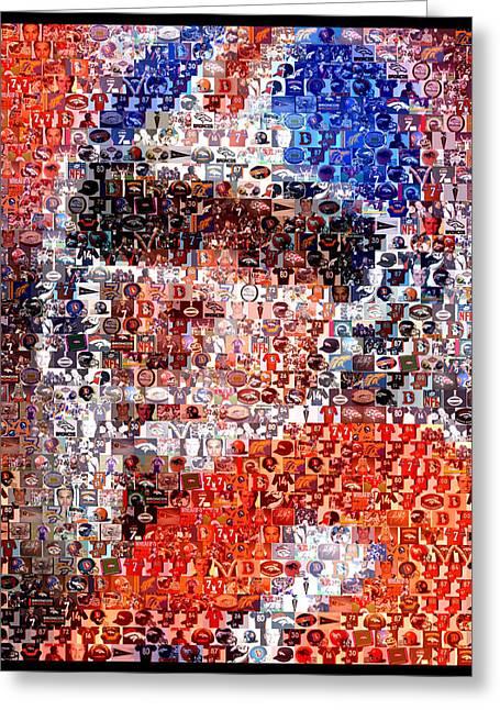 John Elway Mosaic Greeting Card by Paul Van Scott