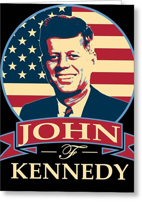 John F Kennedy American Banner Pop Art Greeting Card