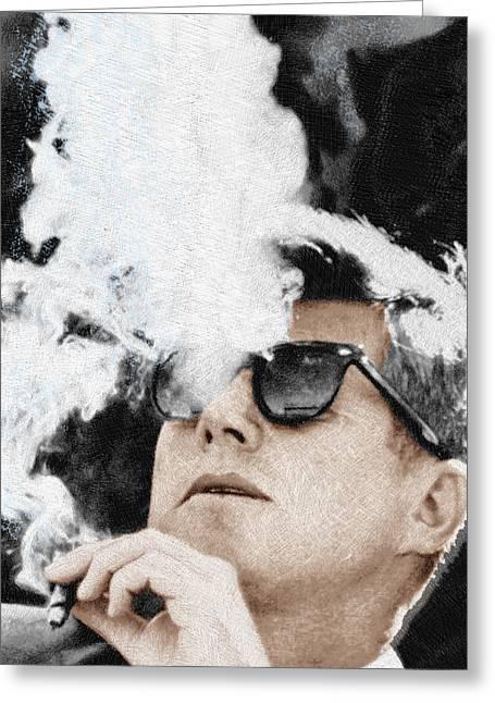 John F Kennedy Cigar And Sunglasses 2 Large Greeting Card by Tony Rubino