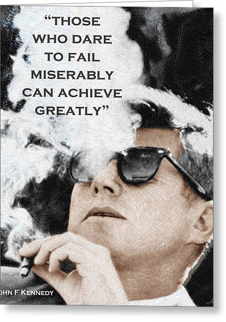 John F Kennedy Cigar And Sunglasses 3 And Quote Greeting Card by Tony Rubino