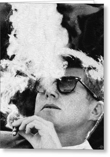 John F Kennedy Cigar And Sunglasses Black And White Greeting Card by Tony Rubino