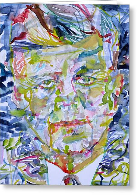Greeting Card featuring the painting John F. Kennedy - Watercolor Portrait.2 by Fabrizio Cassetta