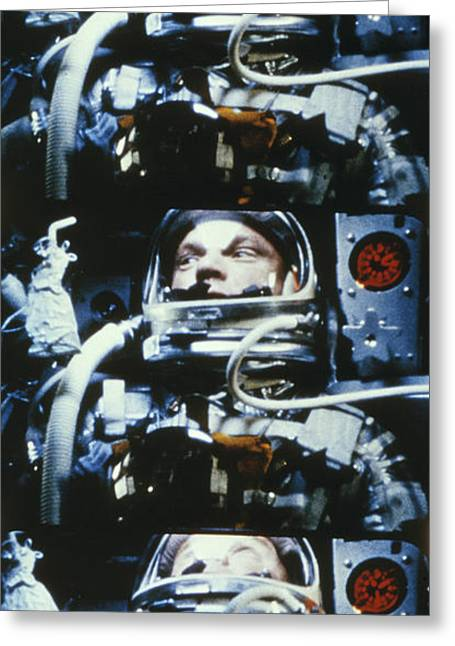 Mid Adult Men Greeting Cards - John H. Glenn, Jr. Circling Earth, 5 Greeting Card by Nasa