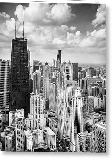 John Hancock Building In The Gold Coast Black And White Greeting Card by Adam Romanowicz