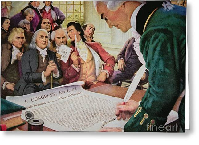 John Hancock Signs The American Declaration Of Independence, 4th July 1776 Greeting Card
