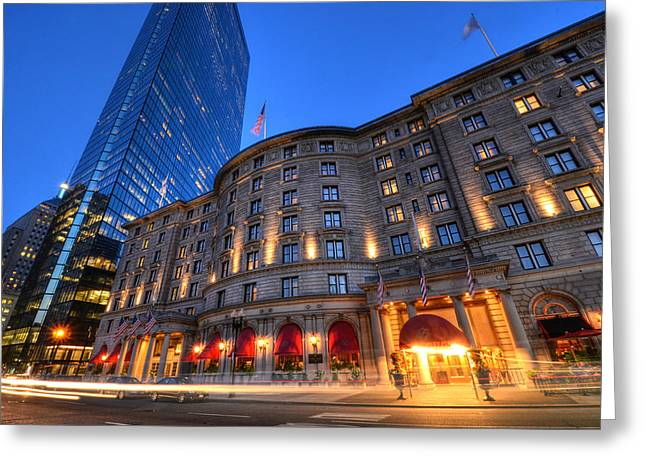 John Hancock Tower Fairmont Copley Plaza Boston Ma Greeting Card by Toby McGuire