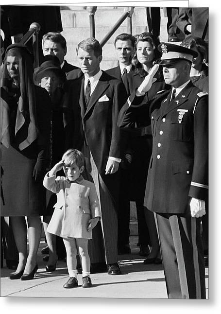 John Kennedy Jr Salute To Father Greeting Card by Daniel Hagerman