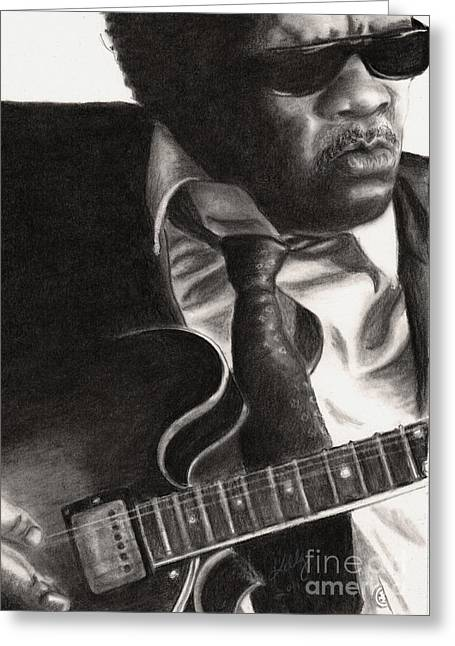 Grayscale Drawings Greeting Cards - John Lee Hooker Greeting Card by Kathleen Kelly Thompson