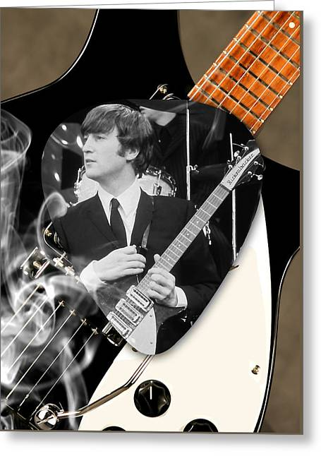 John Lennon Beatles Greeting Card by Marvin Blaine