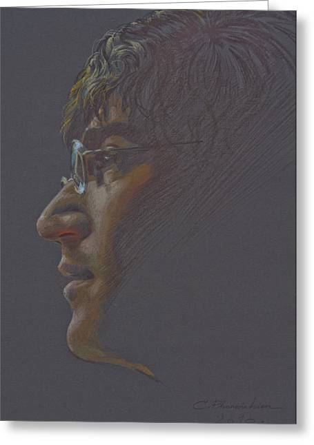 Greeting Card featuring the painting John Lennon by Chonkhet Phanwichien