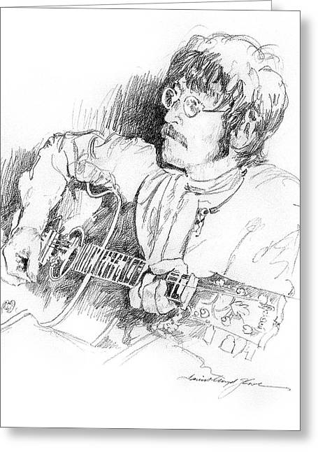 Player Drawings Greeting Cards - John Lennon Greeting Card by David Lloyd Glover
