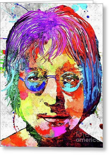 John Lennon Grunge Greeting Card by Daniel Janda