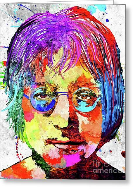 John Lennon Grunge Greeting Card by Daniel Janda
