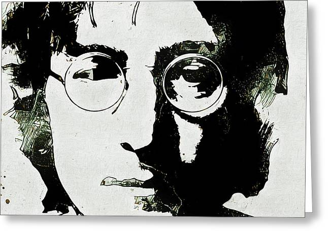 John Lennon Grunge Portrait Greeting Card by Dan Sproul