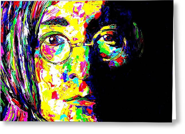 Mike Obrien Greeting Cards - John Lennon Greeting Card by Mike OBrien