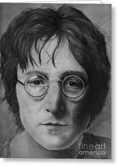 John Lennon Greeting Card by Natalia Chaplin