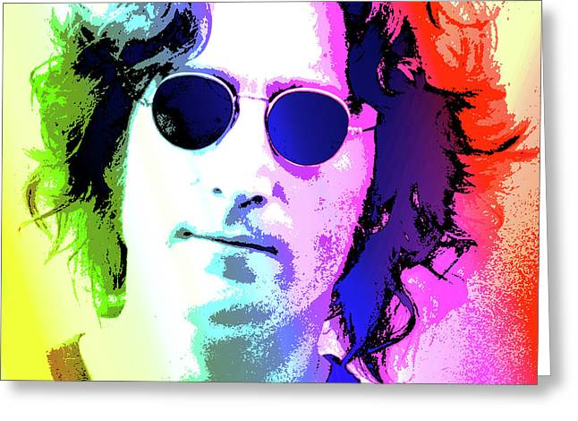 John Lennon - Nyc Greeting Card by Greg Joens