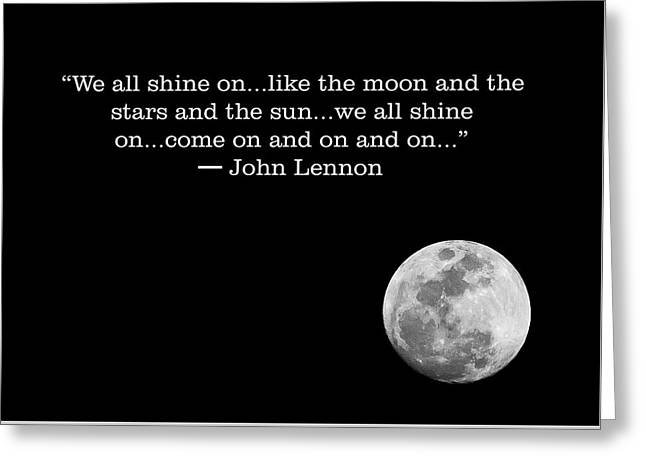 John Lennon Quote With Moon  Greeting Card