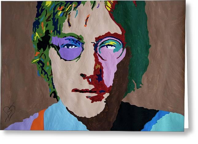 John Lennon Greeting Card by Stormm Bradshaw