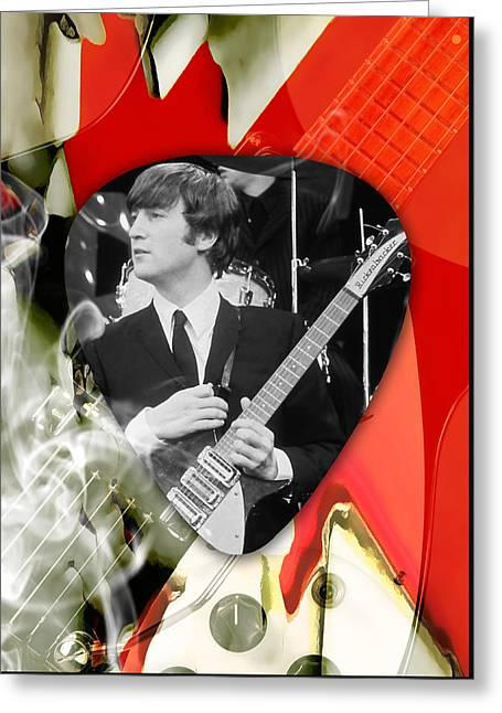 John Lennon The Beatles Greeting Card by Marvin Blaine