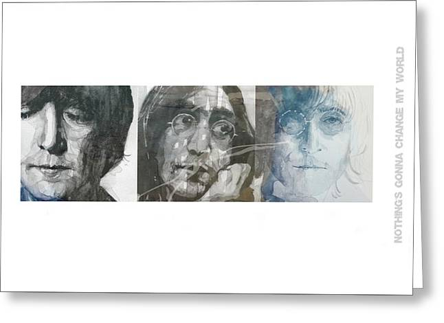 John Lennon Triptych Greeting Card