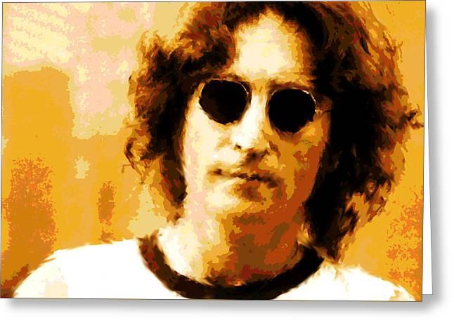 John Lennon Watercolor Greeting Card by Enki Art
